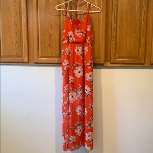 Orange and White Flower Maxi Dress